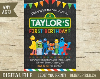 Sesame Street Invite, Sesame Street Invitation, Sesame Street Party, Elmo Party, Cookie Monster, Big Bird, 1st 2nd Birthday, DIGITAL FILE
