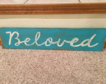 Wood sign Beloved aqua blue with white hand lettering