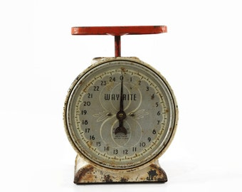 Vintage Kitchen Scale, WayRite Scale in Red and White, Country Kitchen Decor, Old Fashioned Kitchen Scale, Retro Kitchen Scale