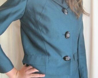 Vintage Vogue Originals Teal Suit Jacket Dress