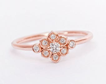 Petite Lily Rose Diamond Ring, Tiny Flower Promise Ring, Dainty And Delicate Unique Diamond Engagement Ring, Size 3-9 US, 14K and 18K Gold
