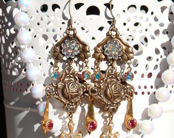 Virgin de Guadalupe Handmade Resin Chandelier Earrings - Catholic Religious Earrings - Mexican Art Earrings - Virgin Mary - Cross Earrings