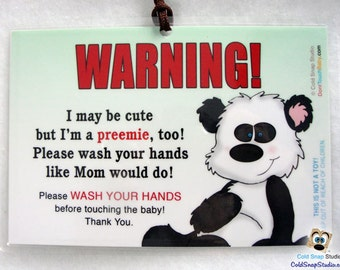 PREEMIE AWARENESS Wash Hands Baby Car Seat Infant Carrier Sign - Panda Bear - Car Seat Tag for Premie, Premies