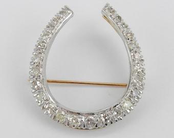Vintage Estate 14K White Yellow Gold 1.90 ct Diamond HORSESHOE Brooch Pin