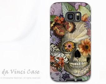 Butterfly Sugar Skull Case for Samsung Galaxy S7 EDGE - Premium Dual Layer Galaxy S 7 EDGE Case with floral Skull Art - by Da Vinci Case