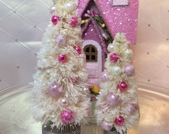 Bottlebrush Trees ( Set of 2 )Cream Trimmed with Cream and Pinks