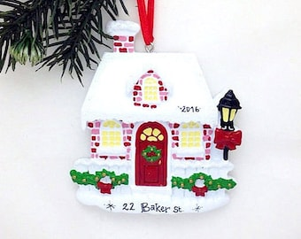 Red Brick House Personalized Christmas Ornament / New Home Ornament / Home for the Holidays / Home for Christmas