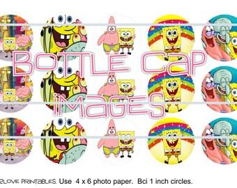 """Sponge Bob 4x6 - 1"""" circles, bottle cap images, stickers"""