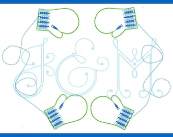 Cable Knit Mitten Frame Vintage Stitch Machine Embroidery Design
