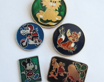 Cute Animal Pin Badges, Soviet Enamel Lapel Pin, Cute Pins, Vintage Enamel Pin, Funny Backpack Pins, Cartoon Badges, Soviet Memorabilia
