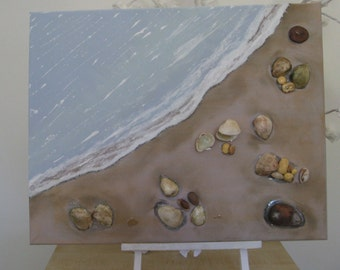 Hand Painted and Decorated Seashore Canvas 500mm x 400mm *Free P&P*