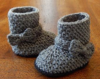 Baby Boots : Bow Strap Boots Newborn-3 Months, 3-6 Months, 6-12 Months, 12-18 Months