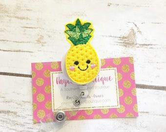 Nurse Badge Reel - Summer - Pineapple  - Nurse Name Badge - Nurse Badge Reel- Nurse Badge Holder - Felt Badge Reel - Office Gift