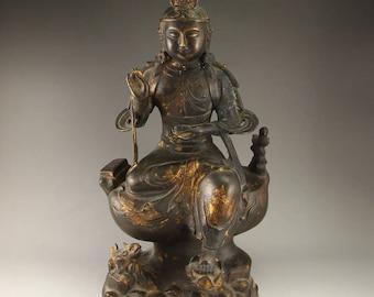 N4716 Vintage Chinese Gilt Gold Bronze Kwan-yin Statue