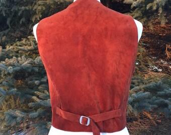 Vintage  Vest/ Leather Vest/ Suede Vest/ Oxblood Leather/ Chestnut Leather