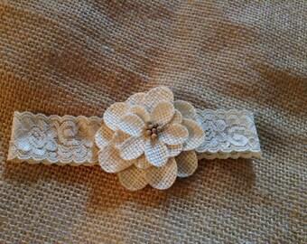 Newborn girls flower headband- couture headband,flower girl,wedding,bridal garter,baby girls headband,photo prop