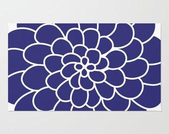Blue Flower Area Rug - Flower Rug - Modern Flower Rug - Abstract Flower Area Rug - Home Decor - Nursery Rug
