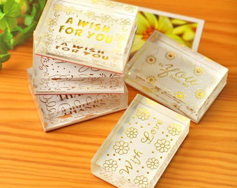 Crystal Stamp Set  - Rubber Stamp Set - Crystal Stamps -  Blessing Stamps - 5 pcs in