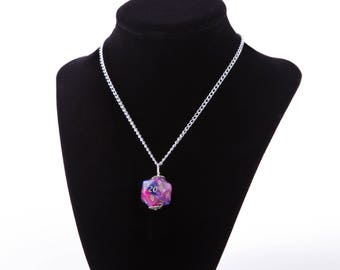 Pink and Purple D20 Necklace