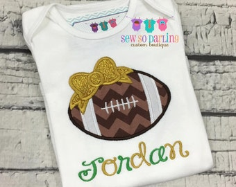Baby girl football outfit - Baby girl green and gold Football shirt - personalized outfit - girl football shirt - baby girl football clothes