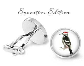 Woodpecker Cufflinks - Woodpecker Cuff Links - Bird Cufflink (Pair) Lifetime Guarantee (S0042)