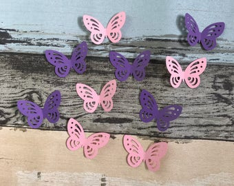 100pcs paper butterfly table confetti fairy theme party girl first birthday pink purple wedding bridal shower decoration 4.5cm/1.8in