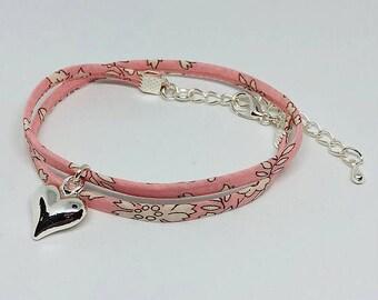 Liberty Print choker necklace/double wrap bracelet - pink/silver/star/heart/charm