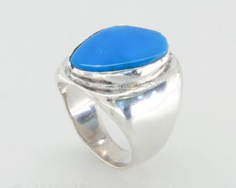 Handmade silver and blue glass ring, chunky ring, statement jewelry, big ring, turquois blue jewelry, unique gift for her, free shipping