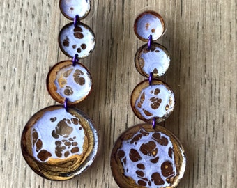 Planets - hand painted resin pendant earrings