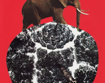 red series 02 - on top of the world - ORIGINAL COLLAGE