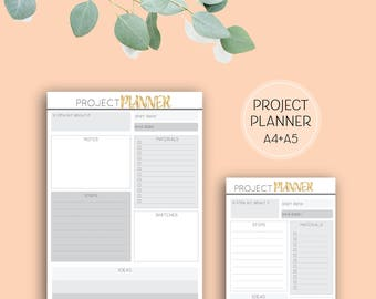 Printable Project Planner, grey and gold digital download planner pages in A4 size