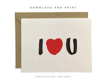 Printable I Love You Card, Hand-lettered Recycled Card