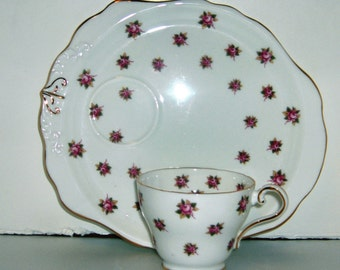 Aynsley Rose Tea and Toast Cup and Saucer Fine Bone China Made in England Pattern Number 28