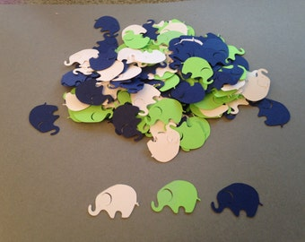100 Navy White Green Elephant Confetti, Elephant Baby Shower, Elephant Die Cut, Elephant Cutout,  Baby Boy Shower, Elephant Theme