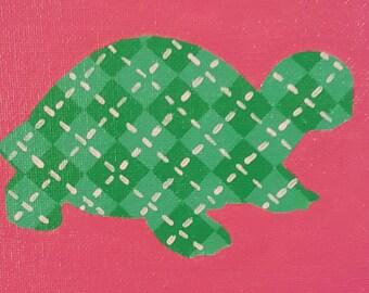 Preppy Argyle Turtle - OOAK Original Artwork