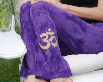 "Purple Yoga Pants 32"" inseam Hand Dyed from The ArtiZan Collection with Optional Hand Painted Design Including Plus Sizes"