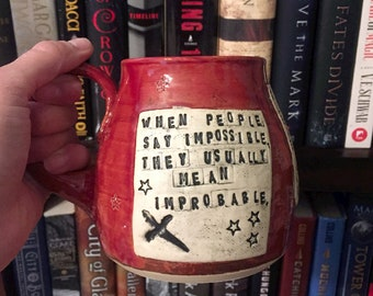 Quote Mug, Grishverse, Siege and Storm, Leigh Bardugo, Autumn Red, Stars -Handmade by Daisy Friesen