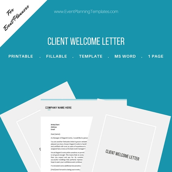 Client welcome letter for event and wedding planners wedding client welcome letter for event and wedding planners wedding client welcome package printable template ms word altavistaventures Images
