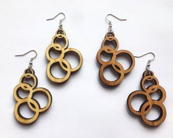 Wood Earrings - Bubble