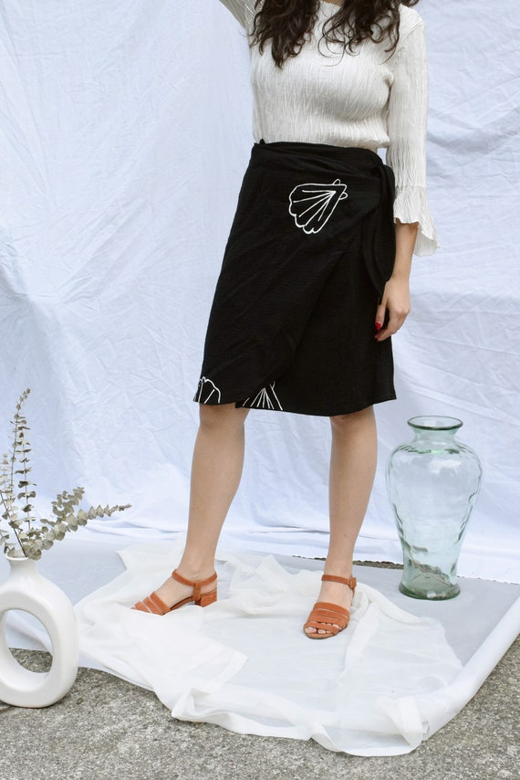 Lucia Black Wrap Skirt  |  Print Optional