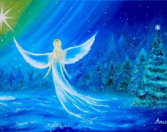Angel painting, modern angel painting,Christmas painting,winter painting,Christmas tree wall art