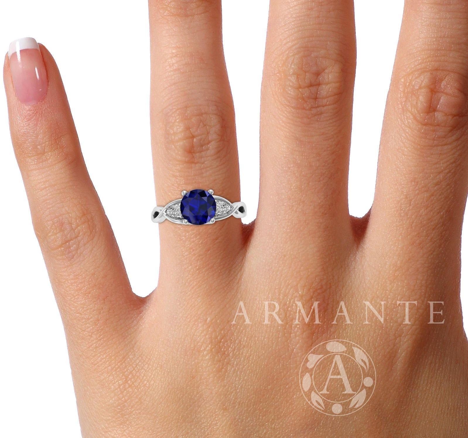 sapphire ring australia white slider engagement solitaire and gold diamond post pink byond