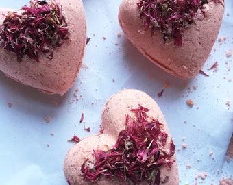 Strawberry fragranced heart bath bombs with dried cornflower vegan organic Valentines day gift baby shower wedding favor