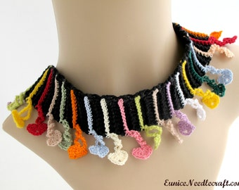 Crocheted Heart Fringe Necklace. Jewelry. Multicolored.