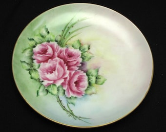 Vintage Hand Painted Plate Pink Roses Porcelain Floral Flowers Rose Cottage Chic French Country Romantic Farmhouse Signed