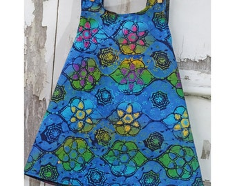 18 Month Cross Back Apron Top Girls Batik Apron Top Little Girls Pinafore Apron
