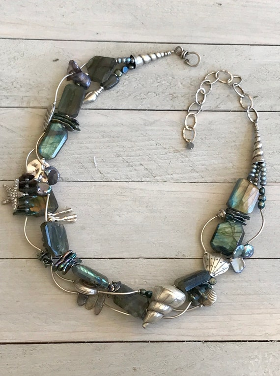 Mermaid's Cove. Labradorite slabs with fine silver sealife. Original design, one-of-a-kind and handmade by ladeDAH! Jewelry.