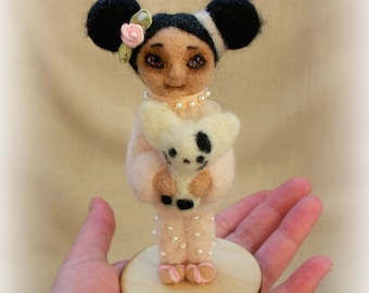 Art doll. Needle felted doll. Small felt doll. Interior doll. OOAK. Felt doll. Felted doll. Miniature. Soft sculpture.