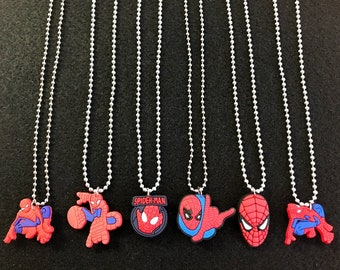 10 Pcs Silver Necklace Spider, Silicone Charms, Round Chain, Party Favors.