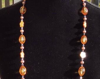 Vintage LDADPR Long Mixed Bead Necklace.